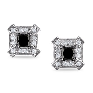 Miadora 14k Gold 1ct TDW White and Black Diamond Earrings (H-I, I2-I3)