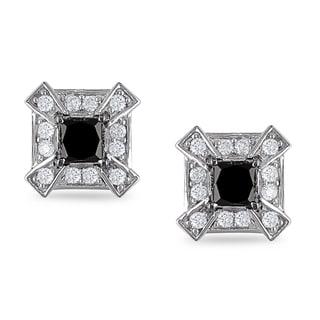 Miadora 14k Gold 1ct TDW White and Black Diamond Earrings (H-I, I2-I3)