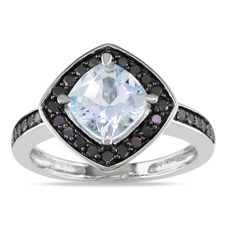 Miadora 10k White Gold Aquamarine and 1/3ct TDW Black Diamond Ring