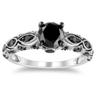 Miadora 14k White Gold 1 1/4ct TDW Black Diamond Ring with Bonus Earrings
