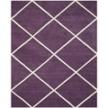 Handmade Moroccan Purple Wool Rug with Geometric Design (8' x 10')
