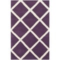 Handmade Moroccan Purple Diamond Pattern Wool Rug (2' x 3')