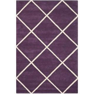 Safavieh Handmade Moroccan Chatham Purple Wool Rug (4' x 6')