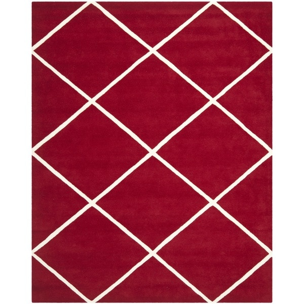 Safavieh Handmade Moroccan Geometric Red Wool Rug (8' x 10')