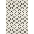 Handmade Moroccan Ivory Cotton-Canvas Wool Rug (6' x 9')