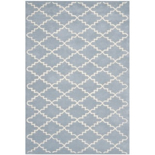 Handmade Moroccan Blue Diamond-Pattern Wool Rug (3' x 5')