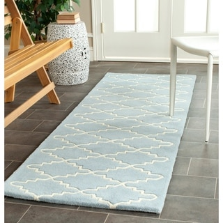 Safavieh Handmade Moroccan Blue Diamond Pattern Wool Rug (2'3 x 9')