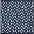 Handmade Moroccan Dark Blue Wool Rug with Cotton Canvas Backing (7' Square)