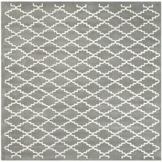 Safavieh Handmade Moroccan Chatham Dark Grey Wool Rug (7' Square)