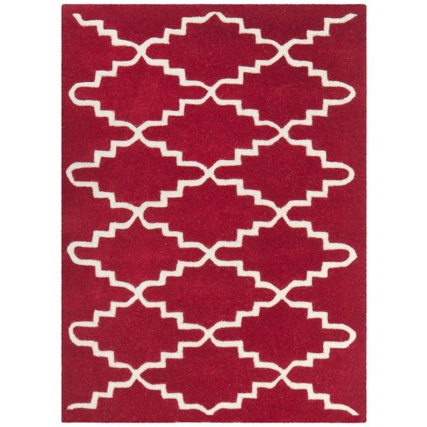 Safavieh Handmade Moroccan Red Cotton-Canvas Wool Rug (2' x 3')