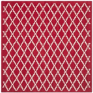 Handmade Moroccan Red Wool Area Rug (7' Square)