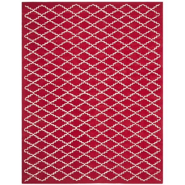 Safavieh Handmade Moroccan Red Wool Rug with Cotton Canvas Backing (8' x 10')