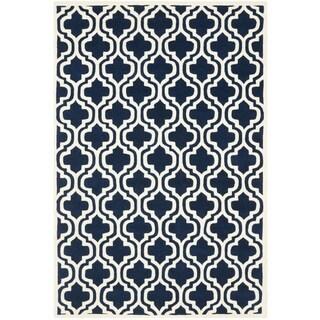 Safavieh Handmade Moroccan Chatham Double-trellis-pattern Dark Blue Wool Rug (6' x 9')