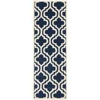Safavieh Handmade Moroccan Chatham Dark Blue Wool Rug with Thick Pile (2'3 x 7')