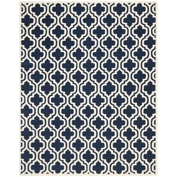 Contemporary Safavieh Handmade Moroccan Chatham Dark Blue Wool Rug (8' x 10')