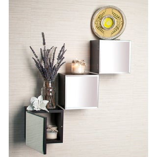 Laminate Espresso Beveled Mirror Cube Shelves (Set of 3)