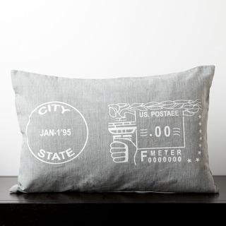 Natalie Flint Grey Novelty Stamp Decorative Down Pillow
