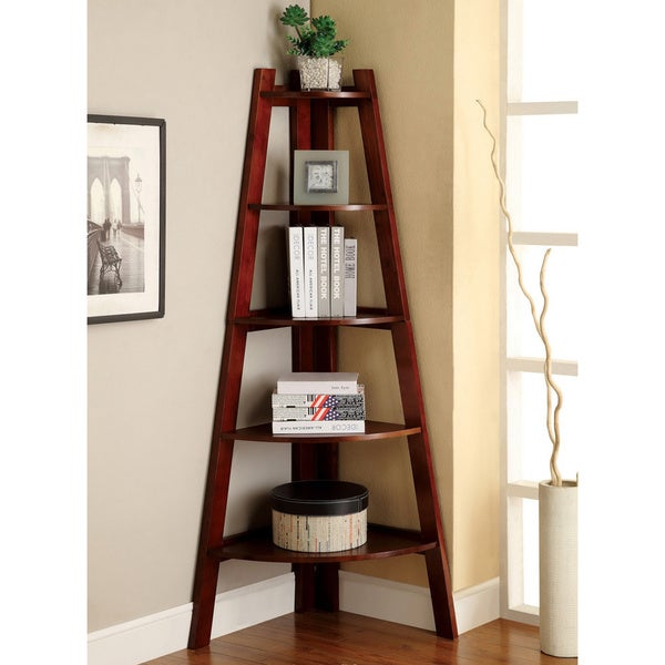 Furniture of America Kiki 5-tier Corner Ladder Display Bookcase ...