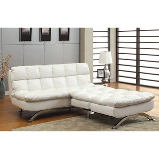 Furniture of America Modern 2-piece White Leatherette Futon Chair Set