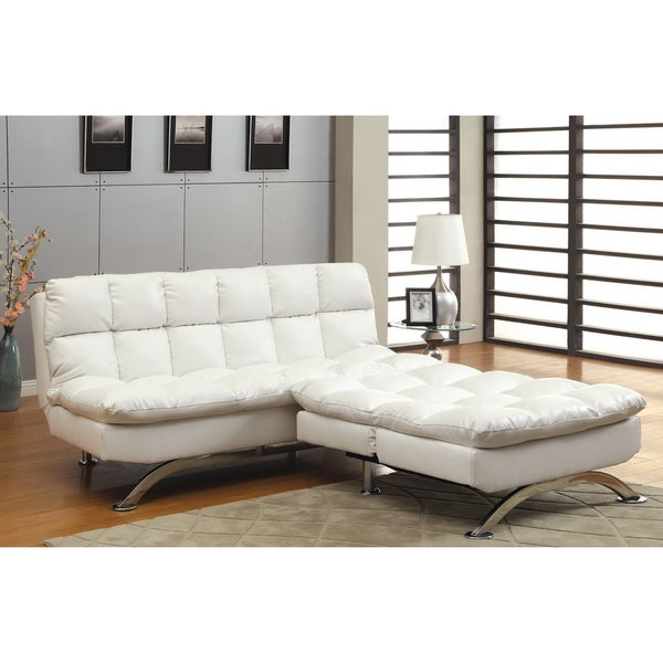 Furniture of America Modern 2-piece White Leatherette Futon Chair Set