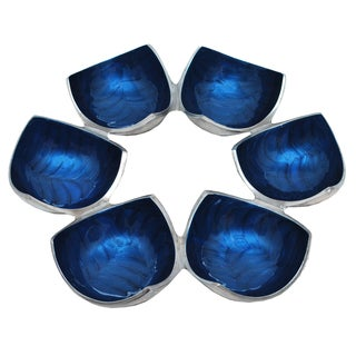 Kindwer Blue Aluminum 6 Bowl Centerpiece