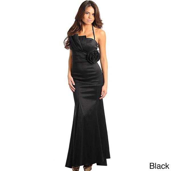 Stanzino Women's Black Detachable Halter Pleated Chest Gown