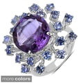Malaika Sterling Silver Amethyst/ Tanzanite or Smokey Topaz/ Citrine Ring