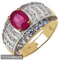 Gold over Silver Ruby/ Tanzanite or Smokey Topaz/ Citrine Ring
