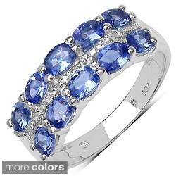 Sterling Silver Multi-colored Sapphire or Tanzanite and White Topaz Ring