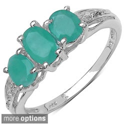 Sterling Silver Emerald or Tanzanite 3-stone Ring