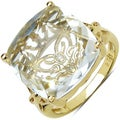 Gold over Silver Clear Crystal Quartz and Diamond Accent Ring
