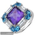 Sterling Silver Amethyst/ Blue Topaz or Smokey Topaz and White Topaz Ring