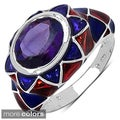 Sterling Silver Amethyst or Blue Topaz and Enamel Ring