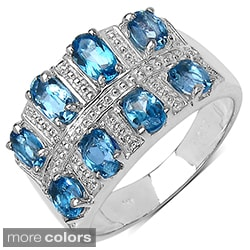 Silver London Blue Topaz or Tanzanite Ring