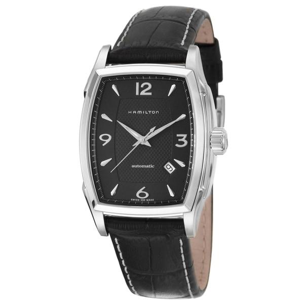 Hamilton Men's 'Jazzmaster' Steel Black Dial Swiss Automatic Watch