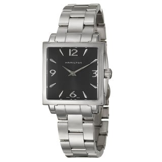 Hamilton Women's 'Jazzmaster' Black-Dial Stainless-Steel Swiss Quartz Watch