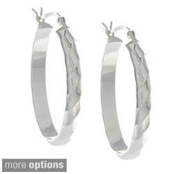 Sunstone Sterling Silver or Gold over Silver Roped Oval Hoop Earrings