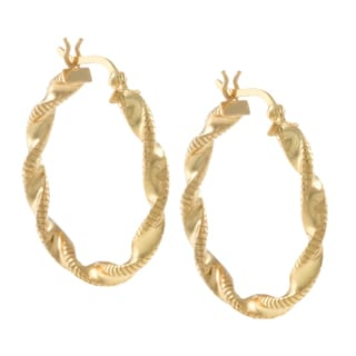 Sunstone Gold over Sterling Silver Twist Hoop Lightweight Earrings
