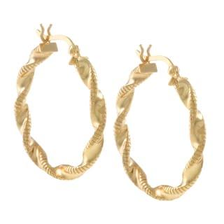 Sunstone Gold over Sterling Silver Twist Hoop Lightweight Earrings