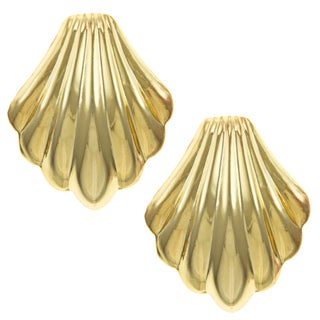 Sunstone Gold over Silver Shell-shaped Clip-on Earrings