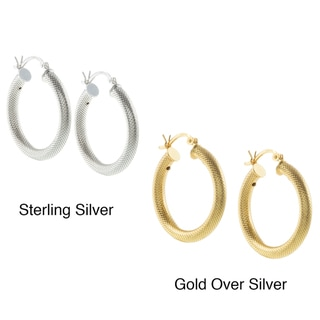 Sunstone Sterling Silver or Gold over Silver Textured Hoop Earrings