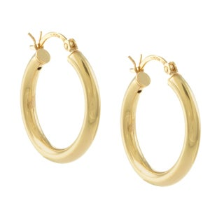 Sunstone Gold over Sterling Silver Lightweight Hoop Earrings