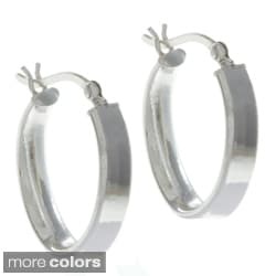 Sunstone Silver or Gold over Silver Lightweight Wide Hoop Earrings
