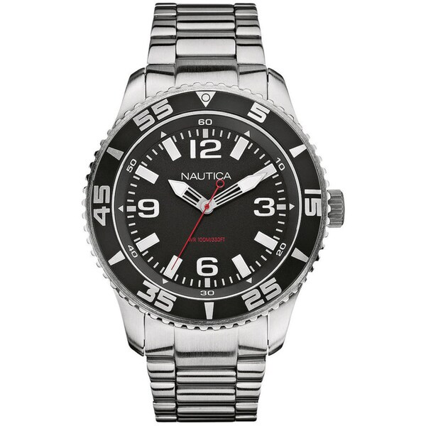 Nautica Men's Stainless Steel Black Dial Watch