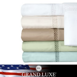 Grand Luxe Payton Egyptian Cotton Sateen Deep Pocket 300 Thread Count Sheet Set