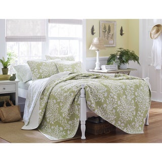 Laura Ashley Rowland Cotton Sage Quilt Set