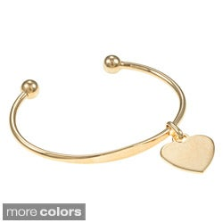 Sterling Essentials Silver 7-inch Heart ID Charm Cuff Bracelet