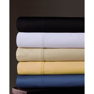 Egyptian Cotton Sateen Deep Pocket 300 Thread Count Solid Sheet Set with Oversized Flat Sheet