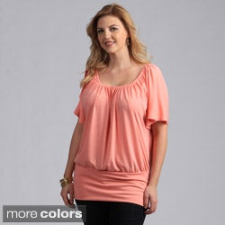 24/7 Comfort Apparel Women's Plus Size Split-sleeve Banded Top