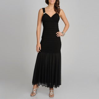 R & M Richards Women's Black Long Shutter Dress